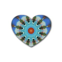 Pattern Blue Brown Background Heart Coaster (4 Pack)