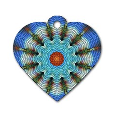 Pattern Blue Brown Background Dog Tag Heart (Two Sides)