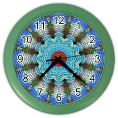 Pattern Blue Brown Background Color Wall Clocks