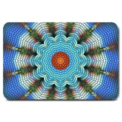 Pattern Blue Brown Background Large Doormat