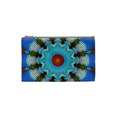 Pattern Blue Brown Background Cosmetic Bag (small)