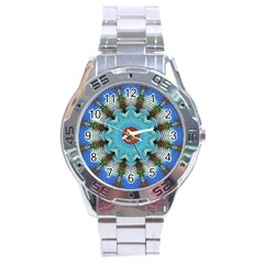 Pattern Blue Brown Background Stainless Steel Analogue Watch