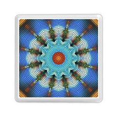 Pattern Blue Brown Background Memory Card Reader (square)