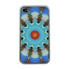 Pattern Blue Brown Background Apple Iphone 4 Case (clear)