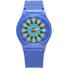Pattern Blue Brown Background Round Plastic Sport Watch (s)