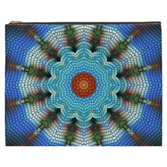Pattern Blue Brown Background Cosmetic Bag (xxxl)