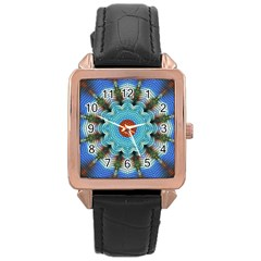 Pattern Blue Brown Background Rose Gold Leather Watch