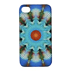 Pattern Blue Brown Background Apple Iphone 4/4s Hardshell Case With Stand