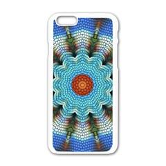 Pattern Blue Brown Background Apple Iphone 6/6s White Enamel Case