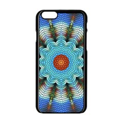 Pattern Blue Brown Background Apple Iphone 6/6s Black Enamel Case