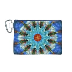 Pattern Blue Brown Background Canvas Cosmetic Bag (m)
