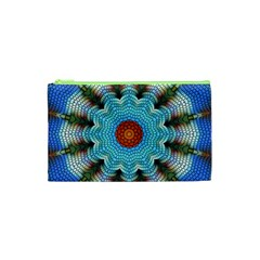 Pattern Blue Brown Background Cosmetic Bag (xs)