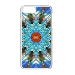 Pattern Blue Brown Background Apple iPhone 7 Plus White Seamless Case