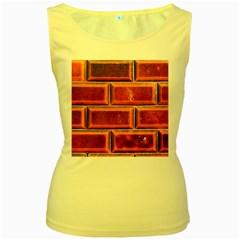 Portugal Ceramic Tiles Wall Women s Yellow Tank Top