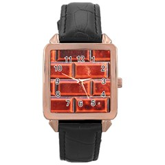 Portugal Ceramic Tiles Wall Rose Gold Leather Watch