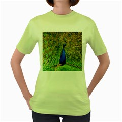 Peacock Animal Photography Beautiful Women s Green T Shirt