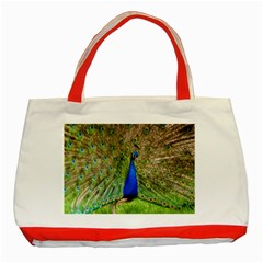 Peacock Animal Photography Beautiful Classic Tote Bag (red)