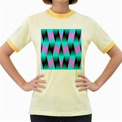 Shiny Decorative Geometric Aqua Women s Fitted Ringer T Shirts