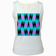 Shiny Decorative Geometric Aqua Women s White Tank Top