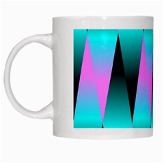 Shiny Decorative Geometric Aqua White Mugs