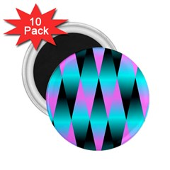Shiny Decorative Geometric Aqua 2 25  Magnets (10 Pack)