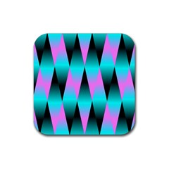 Shiny Decorative Geometric Aqua Rubber Square Coaster (4 Pack)
