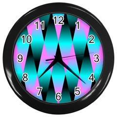 Shiny Decorative Geometric Aqua Wall Clocks (black)