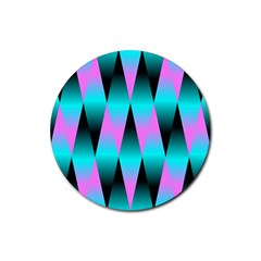 Shiny Decorative Geometric Aqua Rubber Round Coaster (4 Pack)
