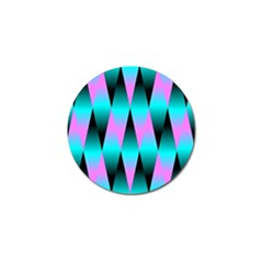 Shiny Decorative Geometric Aqua Golf Ball Marker