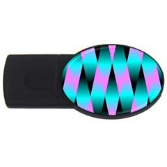 Shiny Decorative Geometric Aqua USB Flash Drive Oval (1 GB)