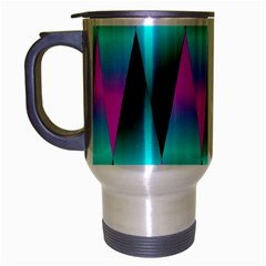 Shiny Decorative Geometric Aqua Travel Mug (Silver Gray)