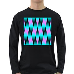 Shiny Decorative Geometric Aqua Long Sleeve Dark T Shirts