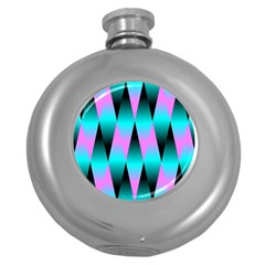 Shiny Decorative Geometric Aqua Round Hip Flask (5 Oz)