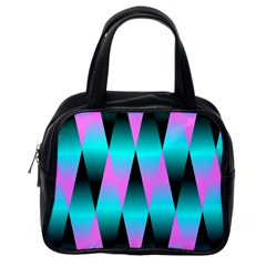 Shiny Decorative Geometric Aqua Classic Handbags (One Side)