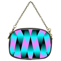 Shiny Decorative Geometric Aqua Chain Purses (one Side)