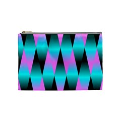 Shiny Decorative Geometric Aqua Cosmetic Bag (Medium)