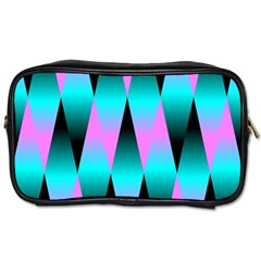 Shiny Decorative Geometric Aqua Toiletries Bags 2 Side