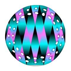 Shiny Decorative Geometric Aqua Ornament (round Filigree)
