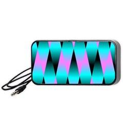 Shiny Decorative Geometric Aqua Portable Speaker (Black)
