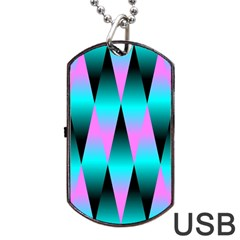 Shiny Decorative Geometric Aqua Dog Tag Usb Flash (one Side)