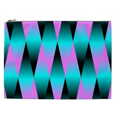 Shiny Decorative Geometric Aqua Cosmetic Bag (xxl)