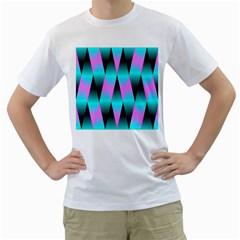 Shiny Decorative Geometric Aqua Men s T Shirt (white)