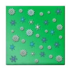 Snowflakes Winter Christmas Overlay Tile Coasters
