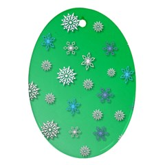 Snowflakes Winter Christmas Overlay Ornament (oval)