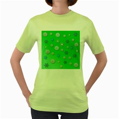 Snowflakes Winter Christmas Overlay Women s Green T Shirt