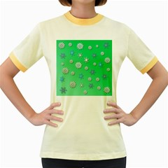 Snowflakes Winter Christmas Overlay Women s Fitted Ringer T Shirts