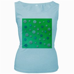 Snowflakes Winter Christmas Overlay Women s Baby Blue Tank Top