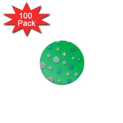 Snowflakes Winter Christmas Overlay 1  Mini Buttons (100 pack)