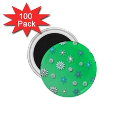Snowflakes Winter Christmas Overlay 1 75  Magnets (100 Pack)