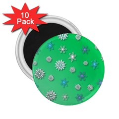 Snowflakes Winter Christmas Overlay 2 25  Magnets (10 Pack)